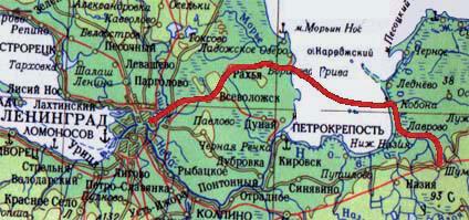 карта, проходившей во время блокады Дороги жизни
