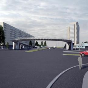 Надземный пешеходный переход на Славе в августе будут достраивать по ночам